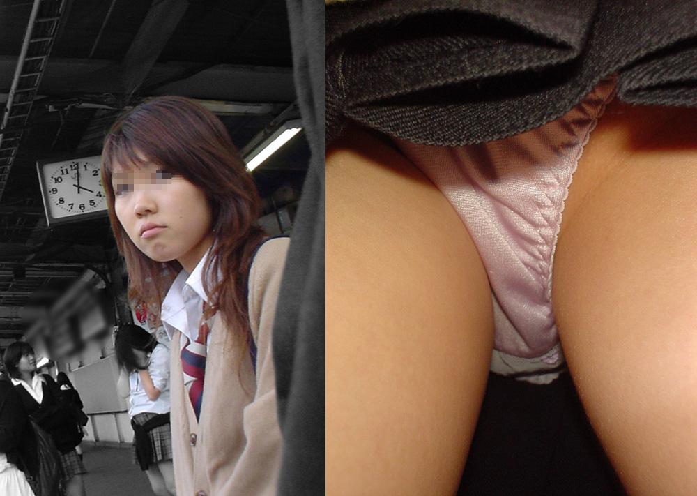 駅で美少女JKを発見してパンチラ逆さ撮り!