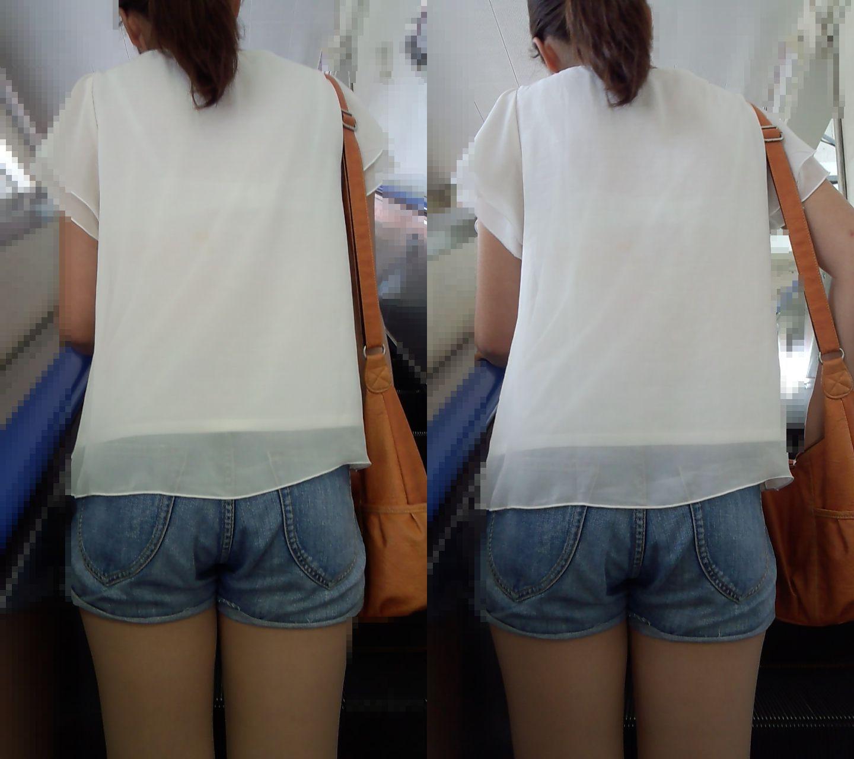 美脚お姉さんの白Tシャツ透けブラ!