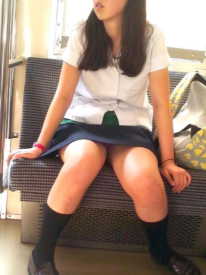 対面座席に座る女子校生のパンチラ盗撮!