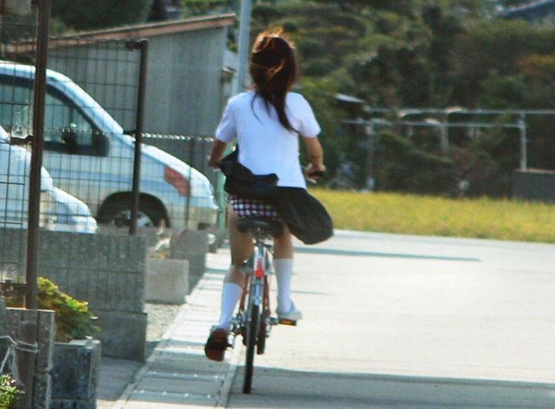 自転車に乗ってるJKの派手なパンツが見えまくり!
