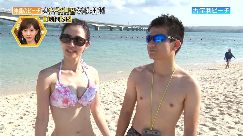 沖縄ビーチ_ビキニ水着_素人巨乳_テレビキャプ画像_34