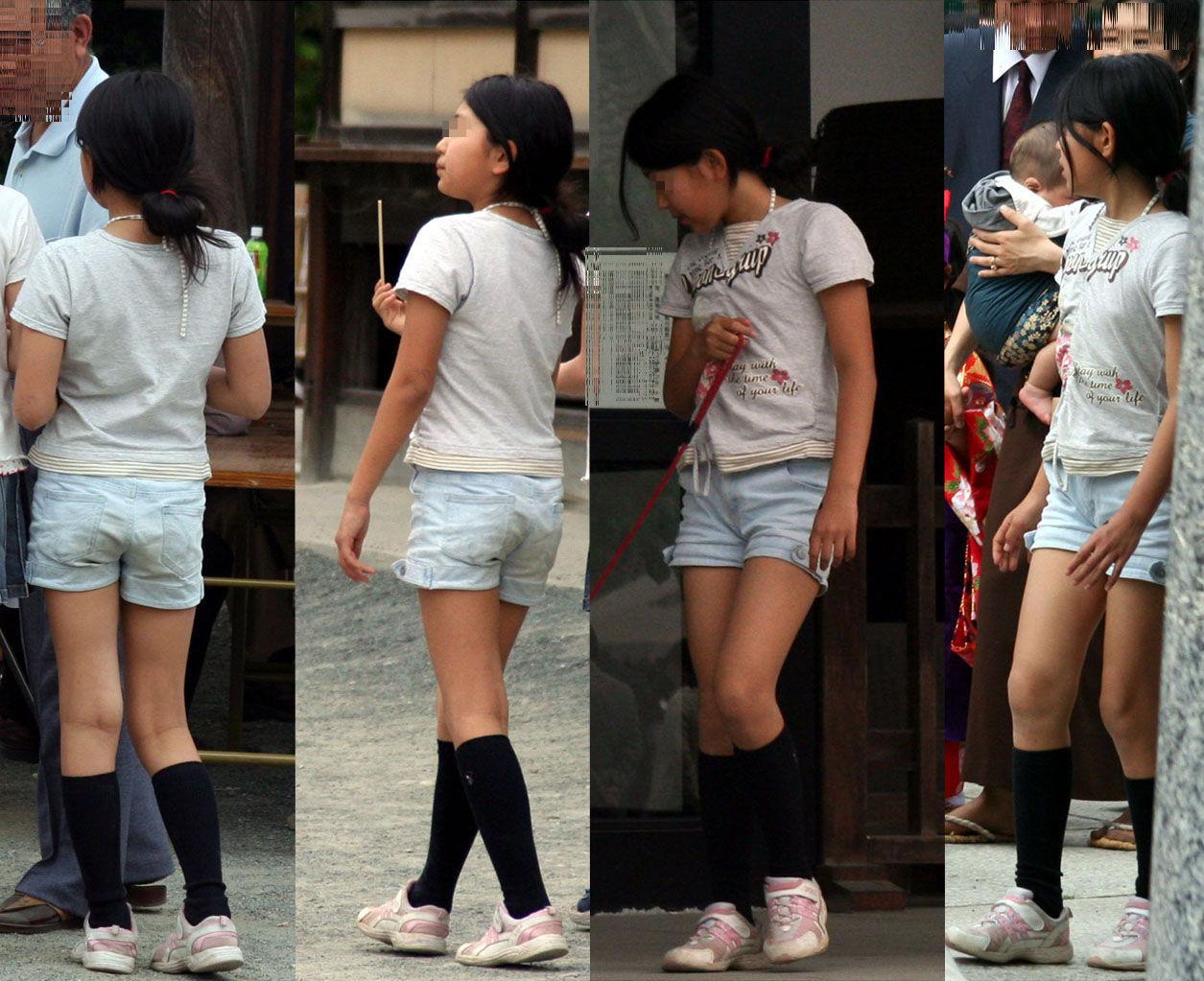 短パン姿の激カワ少女の美脚を街撮り盗撮!