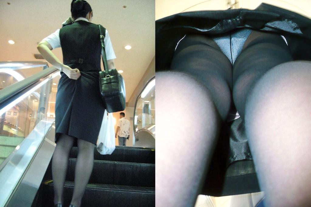 エスカレーターでスーツ姿のOLさんの逆さ撮り!