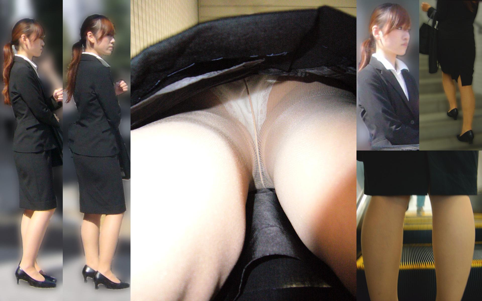 ポニーテールが可愛らしい働く女性を逆さ撮り!