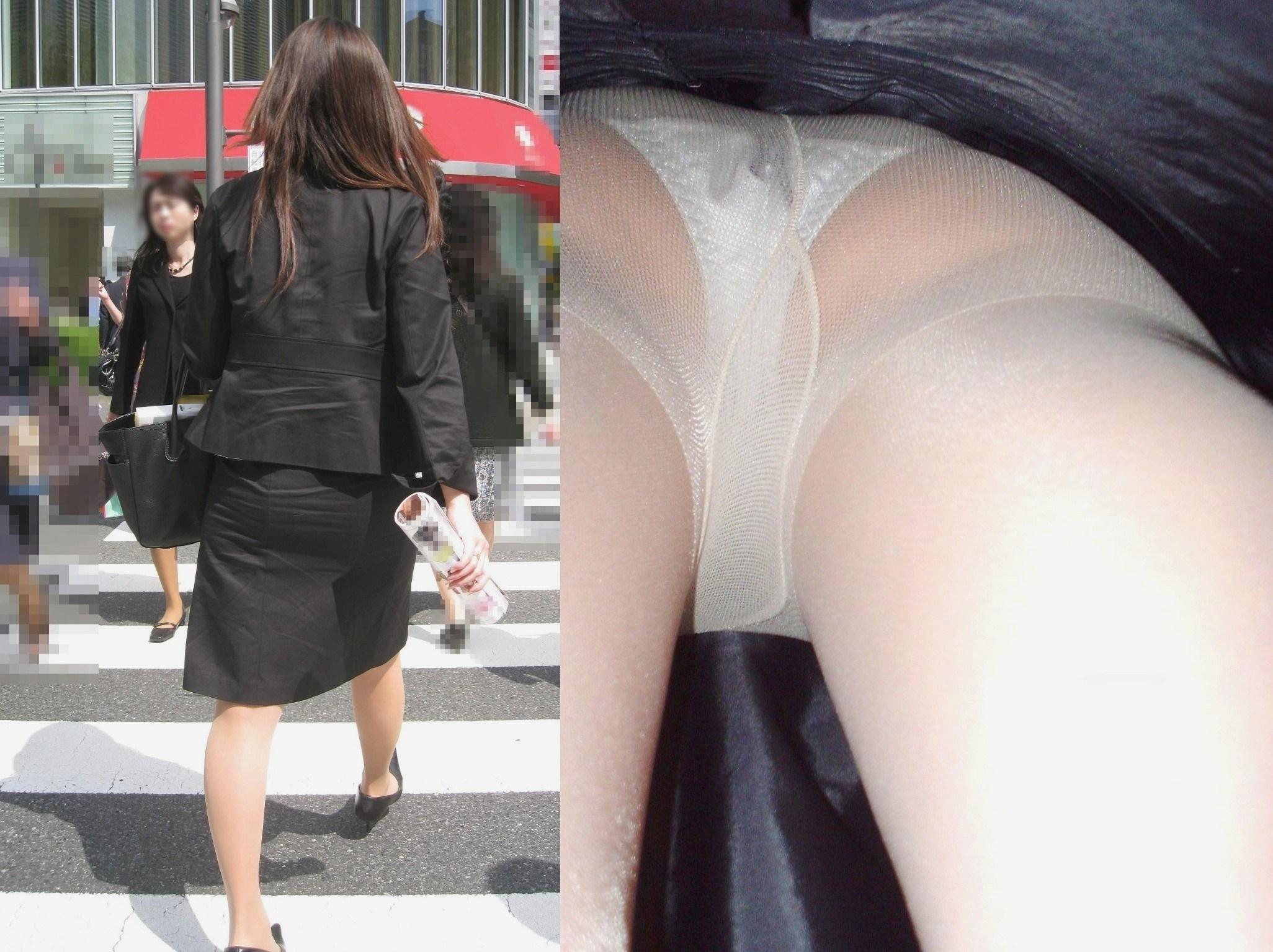 新卒っぽい新人OLさんのスカート内を真下から撮影!
