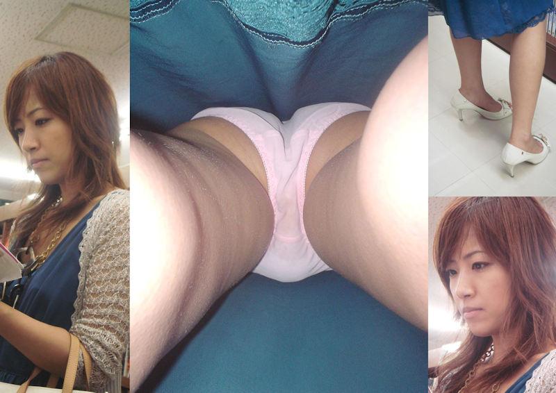 生足ロングスカートの女性の下着を逆さ撮り!