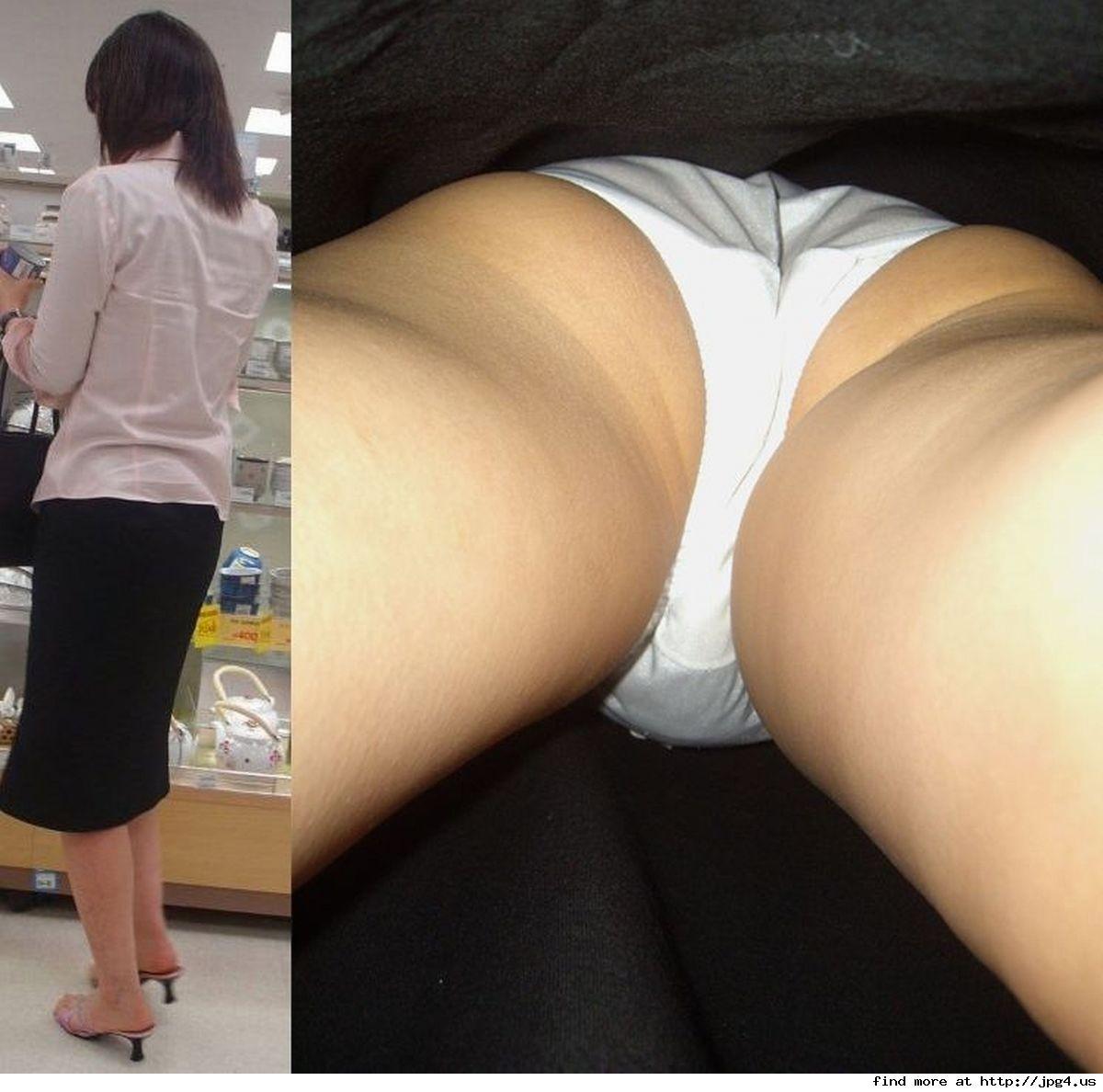 熟女の純白パンティーを真下から覗き見する!