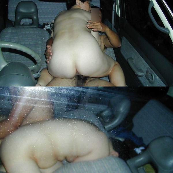 狭い車の中で騎乗位セックスで盛り上がる!