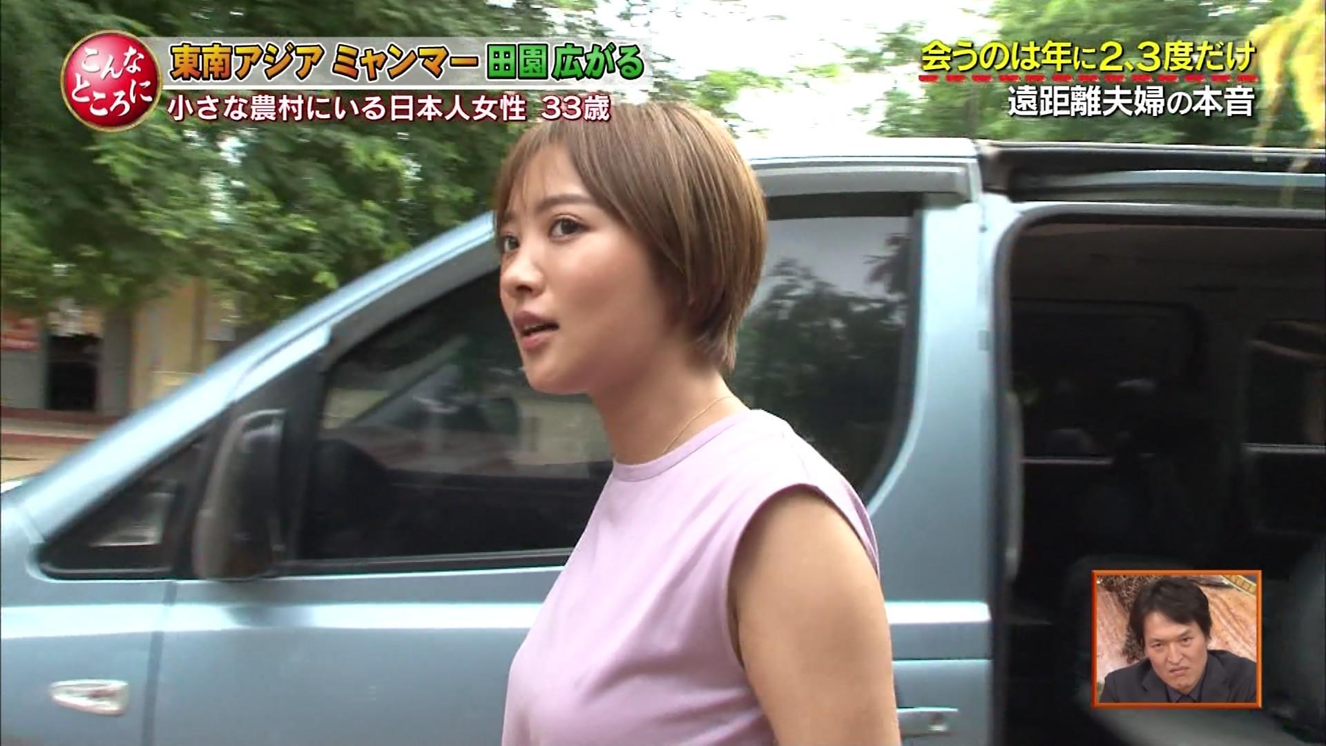 夏菜_着衣巨乳_ノースリーブ_テレビキャプ画像_44