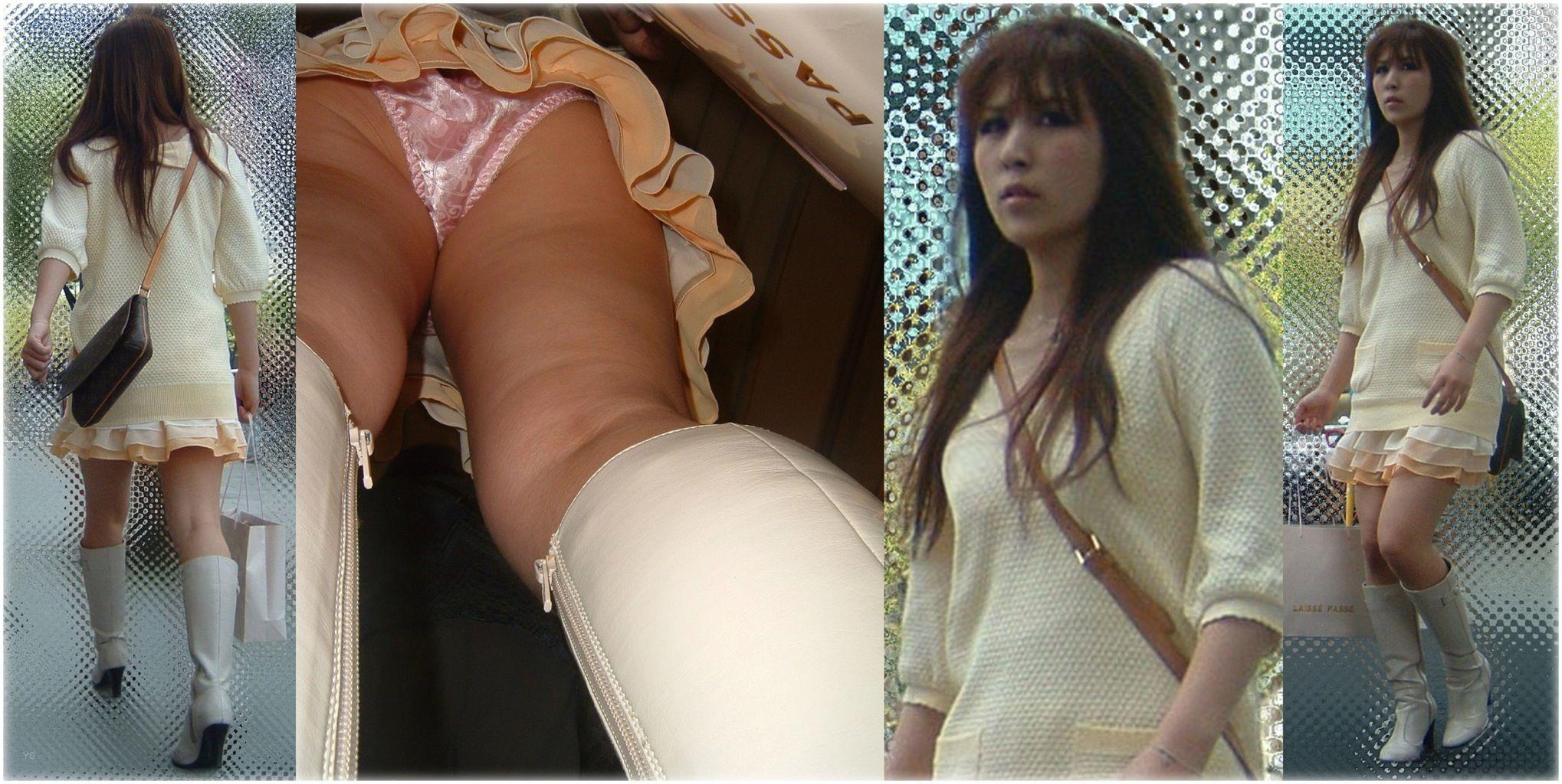 美女のスカート内のサテン素材パンツを隠し撮り!