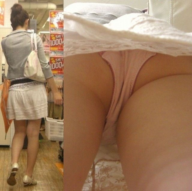 素人美女のプライベート下着を逆さ撮り!