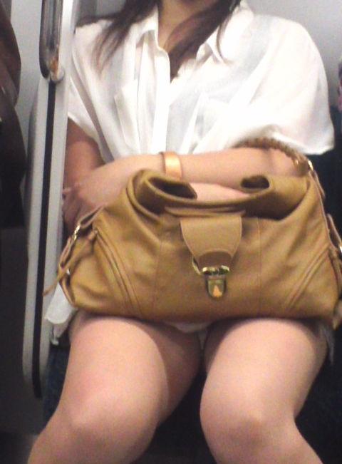 電車の中で遭遇した熱すぎる股間を盗撮!
