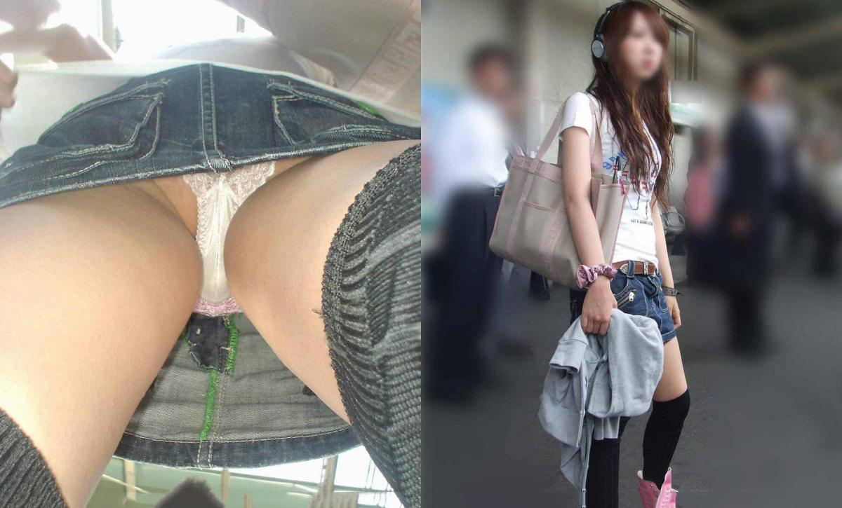 可愛いお姉さんのセクシー下着を真下から激写してる!