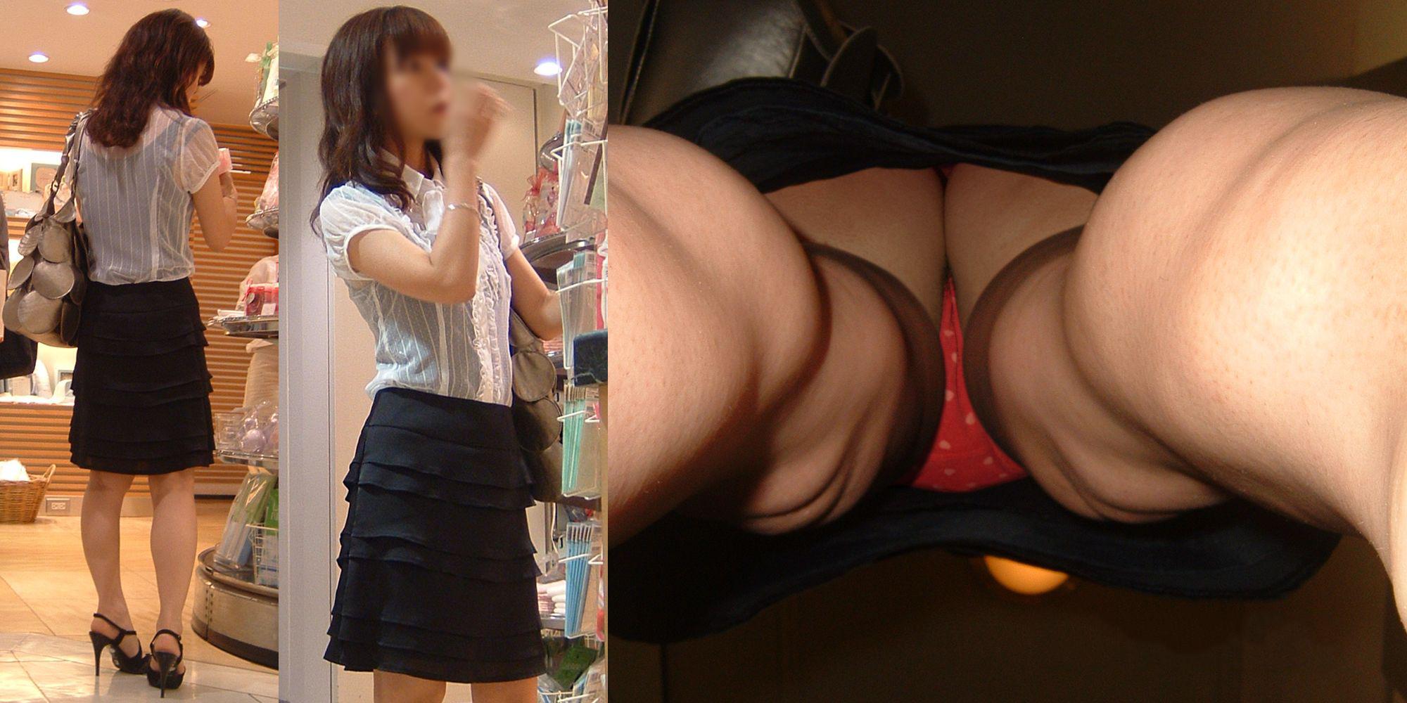 買い物中の素人美女の逆さ撮りがエロい!