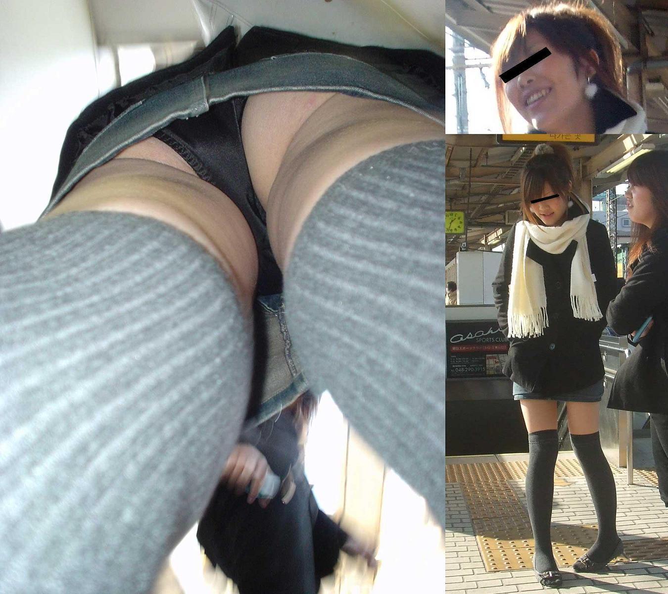 駅ホームでターゲット女性のパンツを逆さ撮り!