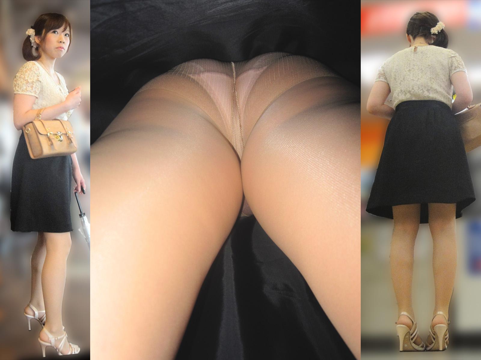 美脚女性を逆さ撮りしてパンスト越しの下着を覗く!