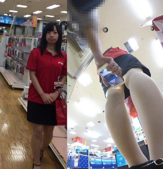 ショップ店員のスカート内をスマホで撮影!