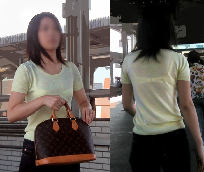 正面と後からスケブラを盗撮される素人女性!