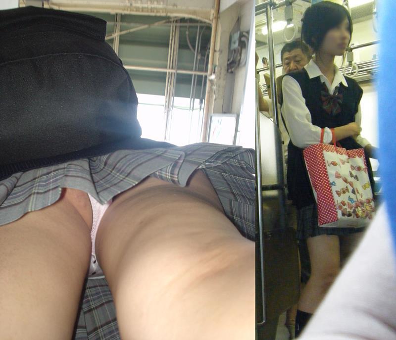 電車の中で発見した清楚なJKを尾行して盗撮!