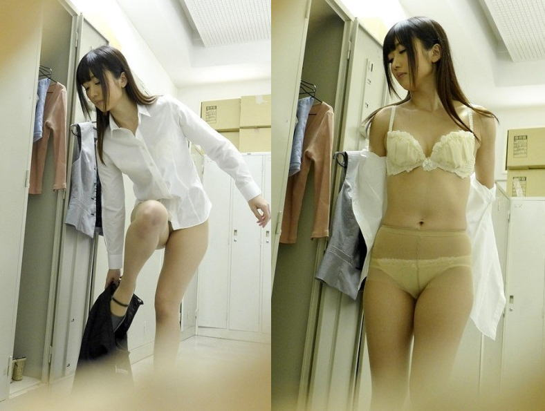 更衣室で着替え中の美しいOLさんを盗撮!