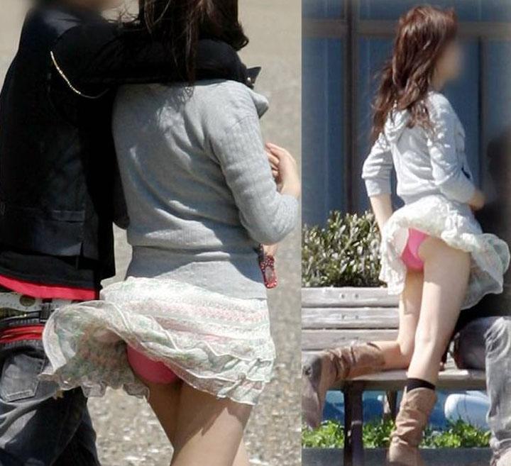 素人女子のピンクのパンツが見えまくり!