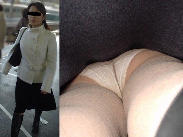 清楚な人妻の下着を真下から覗いて興奮!