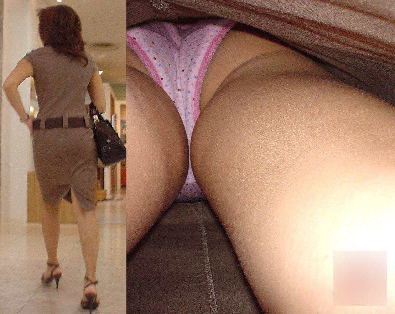 人妻が意外と可愛い下着を履いていた!