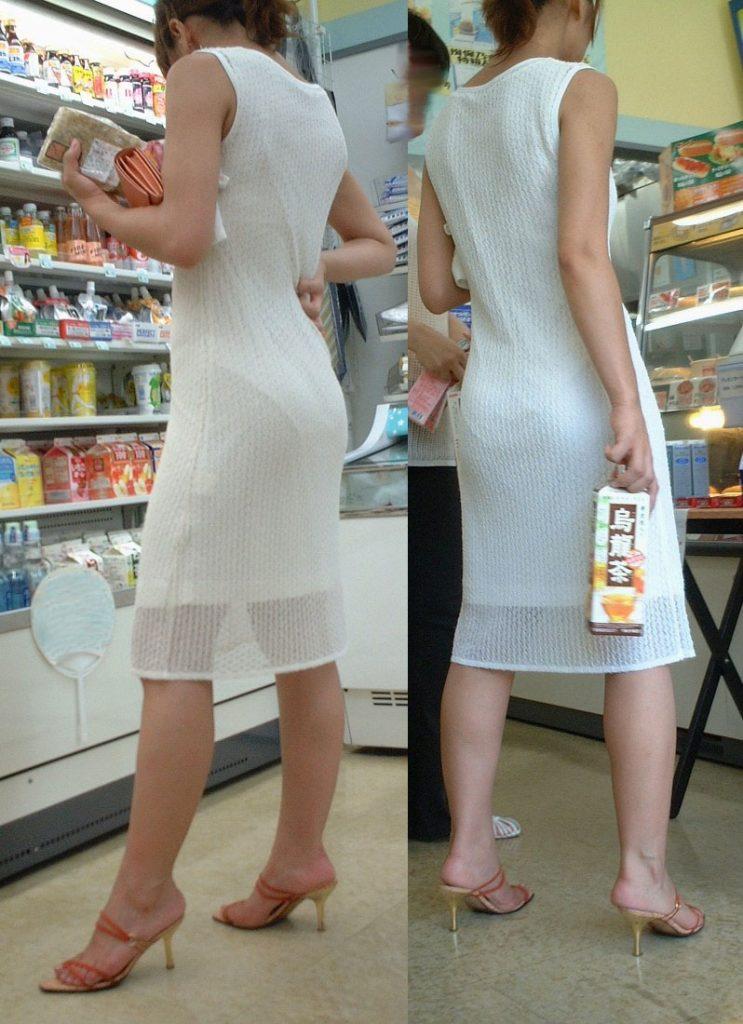 白ワンピース美女の下着が透けて見えまくり!