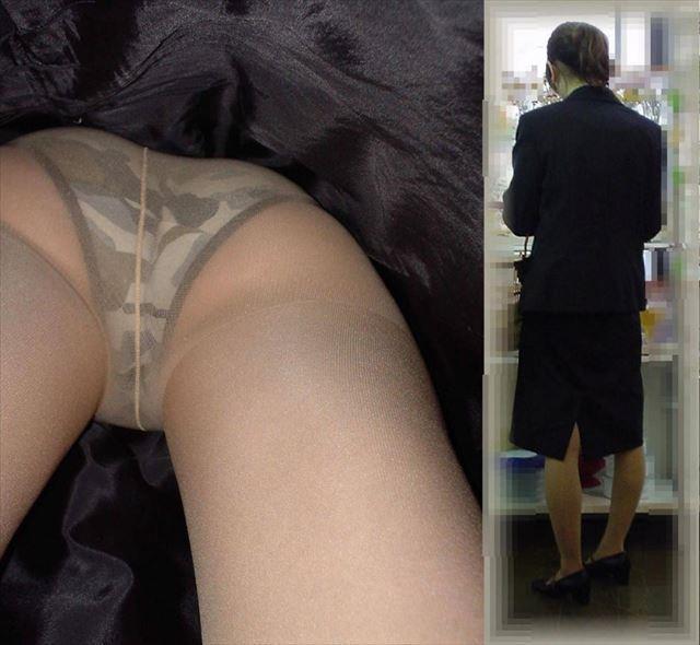 お洒落な下着を履いてる美女さんを逆さ撮り!
