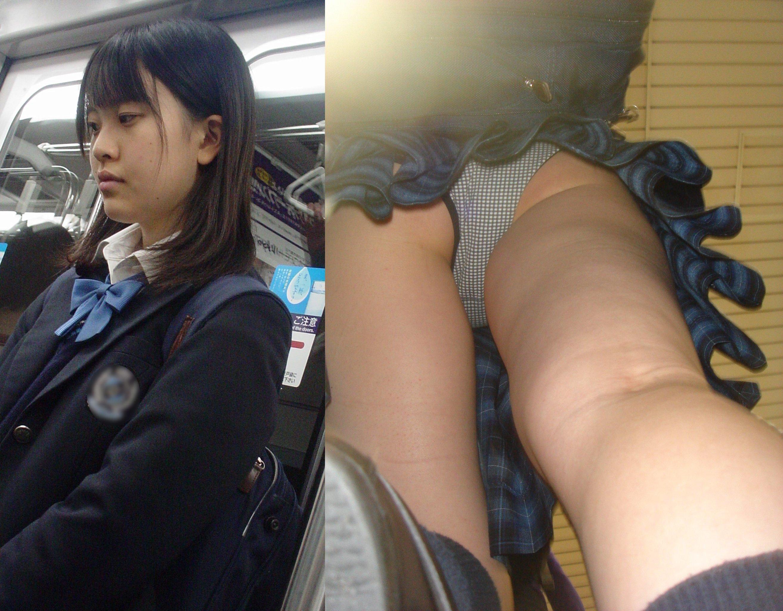 電車の中で可愛いJKを見つけ追跡して逆さ撮り!