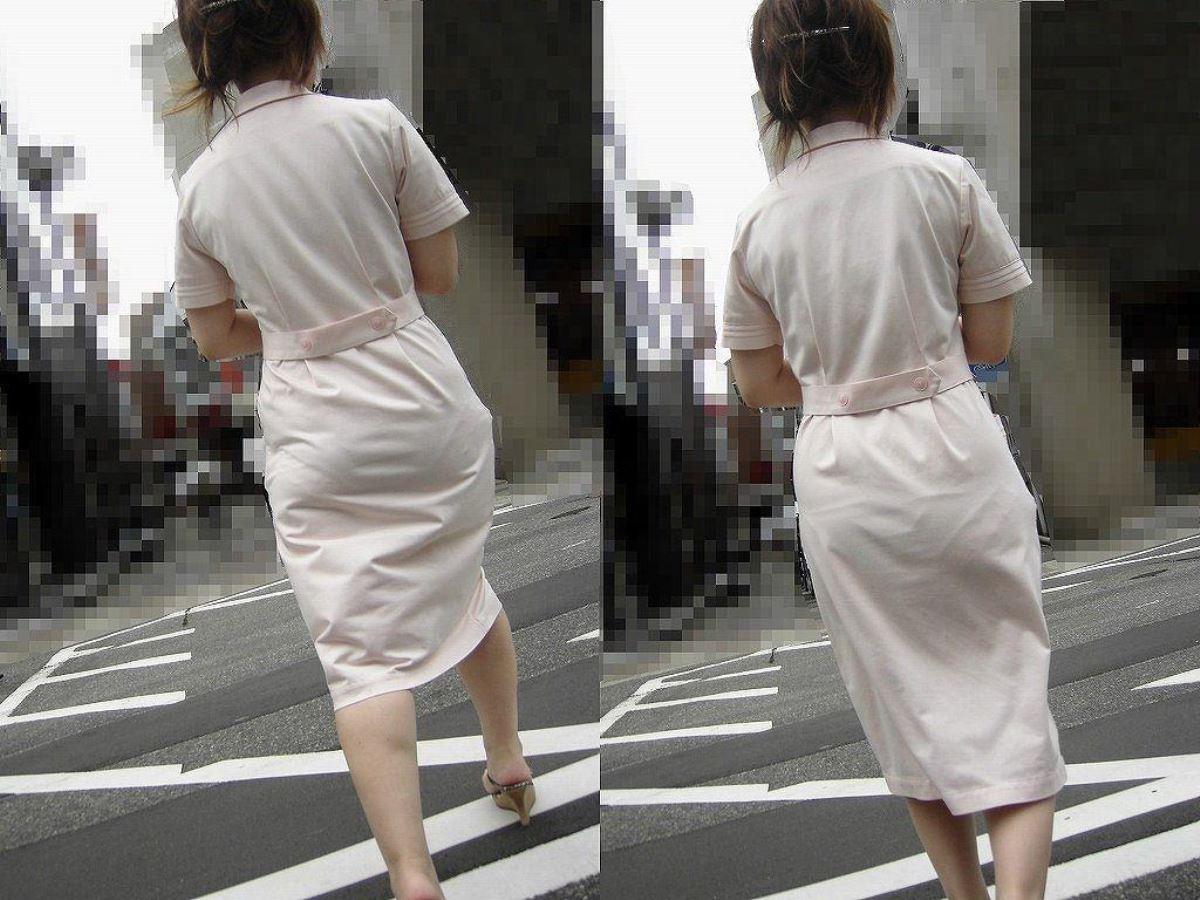 街中で下着が透けてる看護師さんを盗撮!