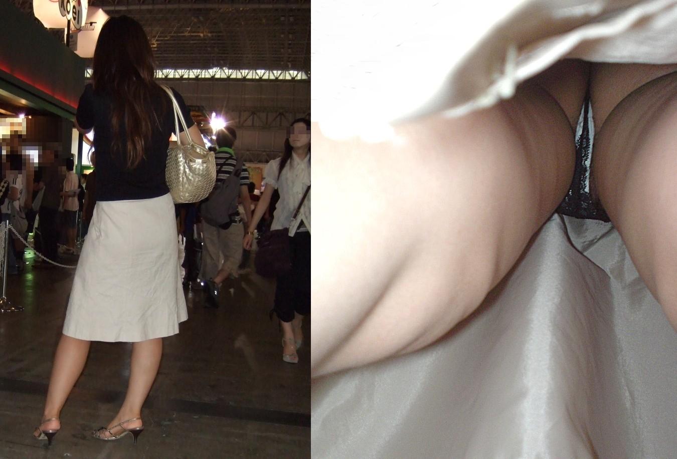 ロングスカートのお姉さんの下着を逆さ撮り!