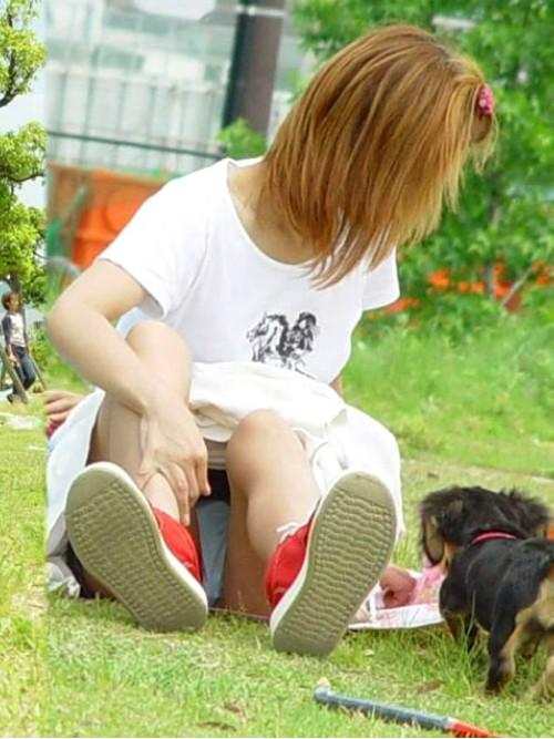 犬の散歩中にパンチラするギャル素人さん!