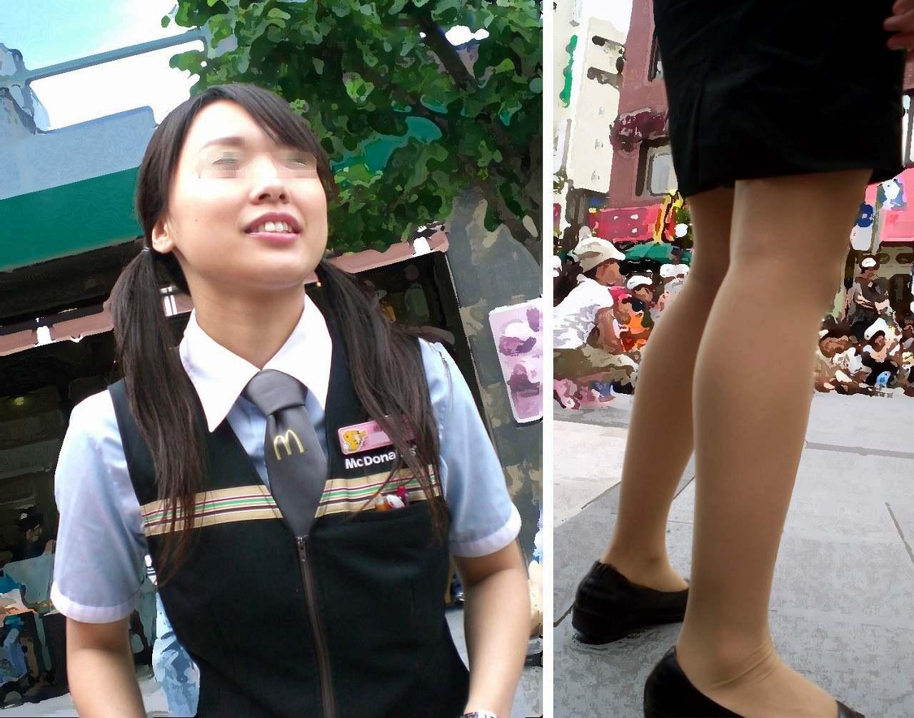 ツインテールが可愛い店員の美脚を接写撮り!