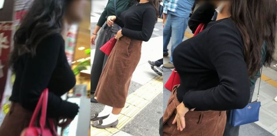 ハリのある着衣おっぱいを街撮り!