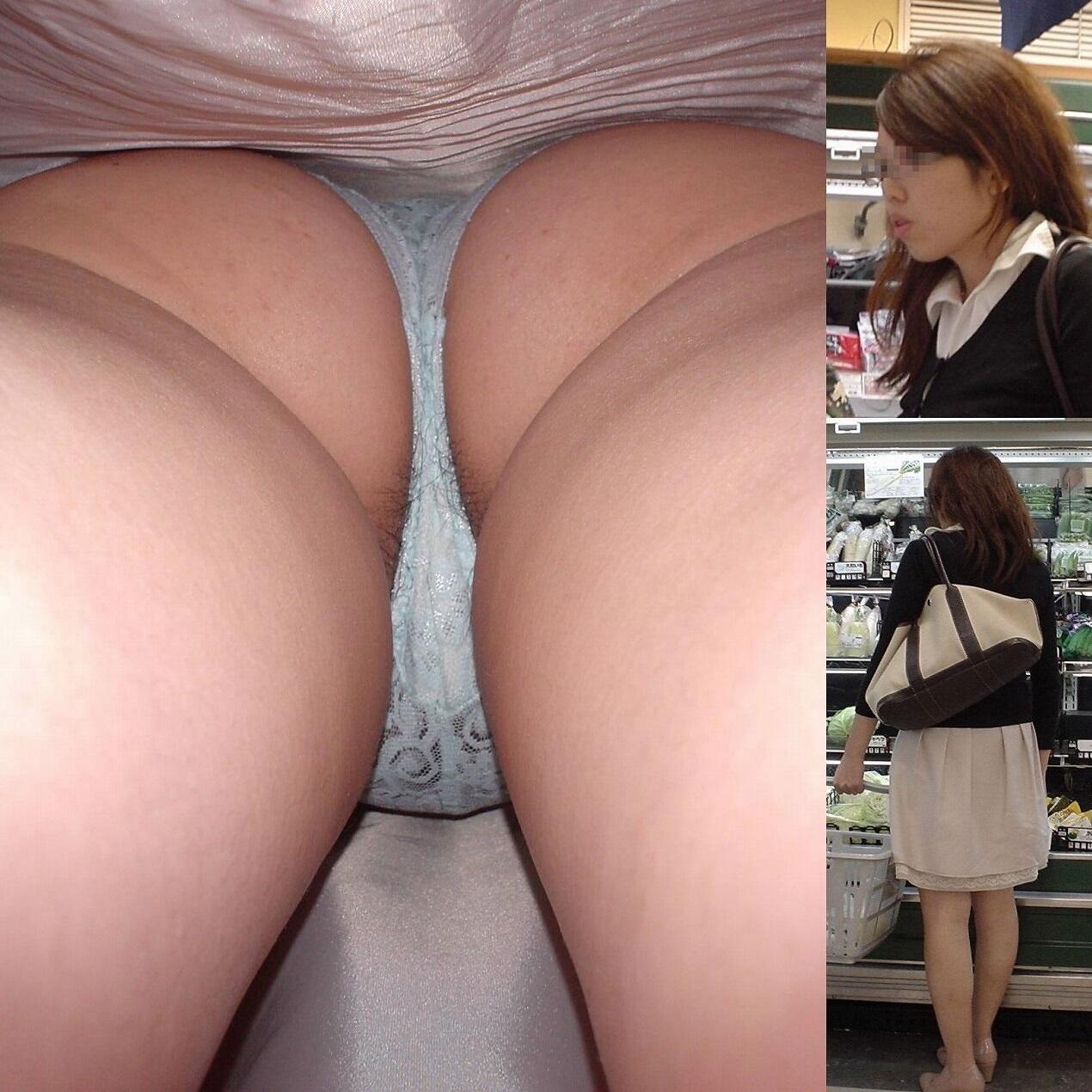 スーパーで買い物中の素人を逆さ撮り!