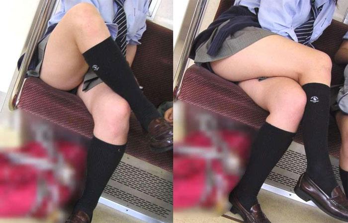 足を組んでパンチラする女子校生を盗撮!