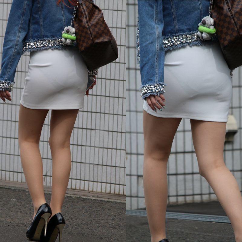 白スカート女性のパンツが透けまくり!