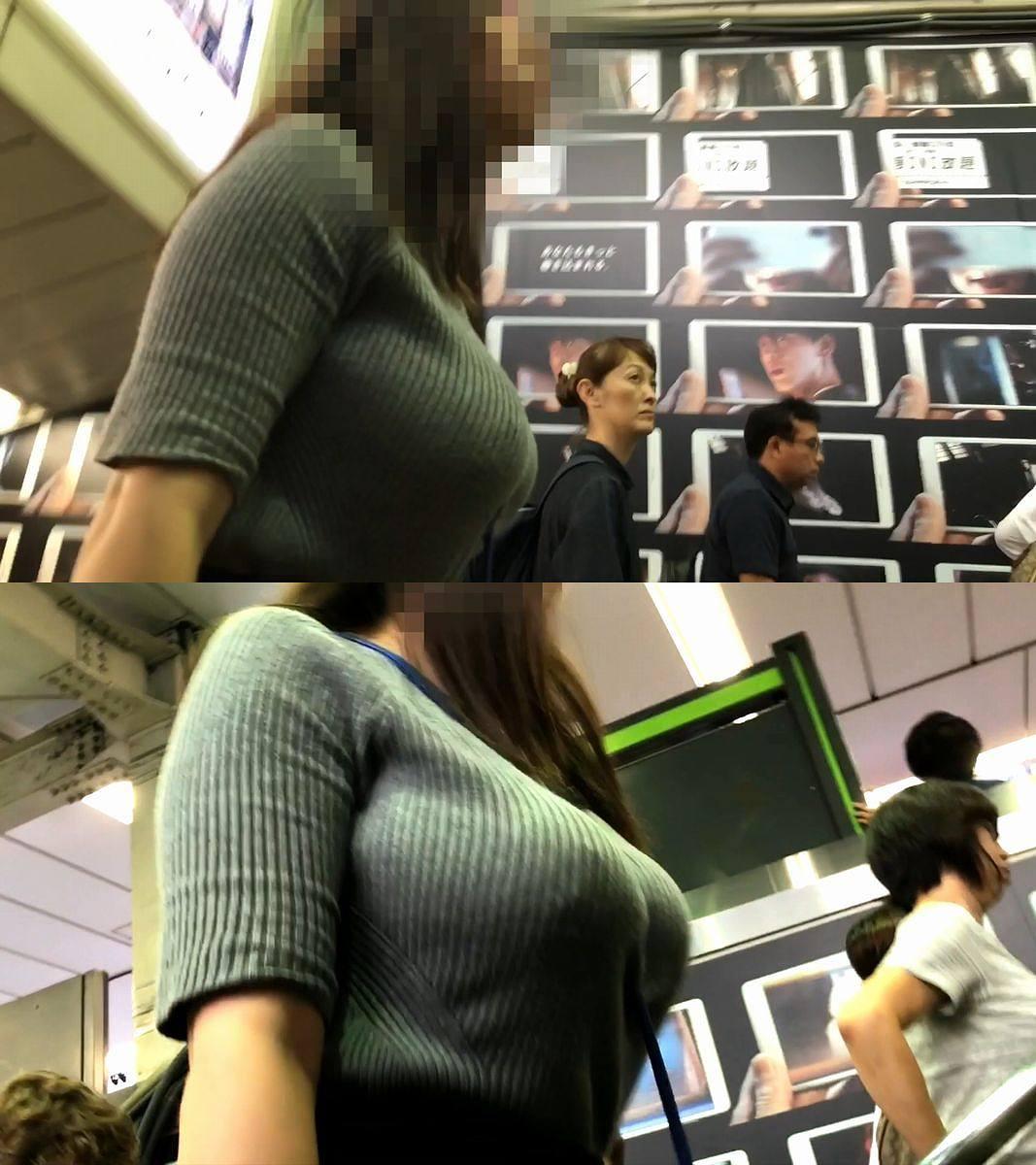 デカパイ女性の胸元を接写撮りしてる!