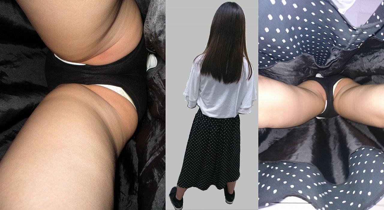 水玉ロングスカートの女性のパンツを逆さ撮り!