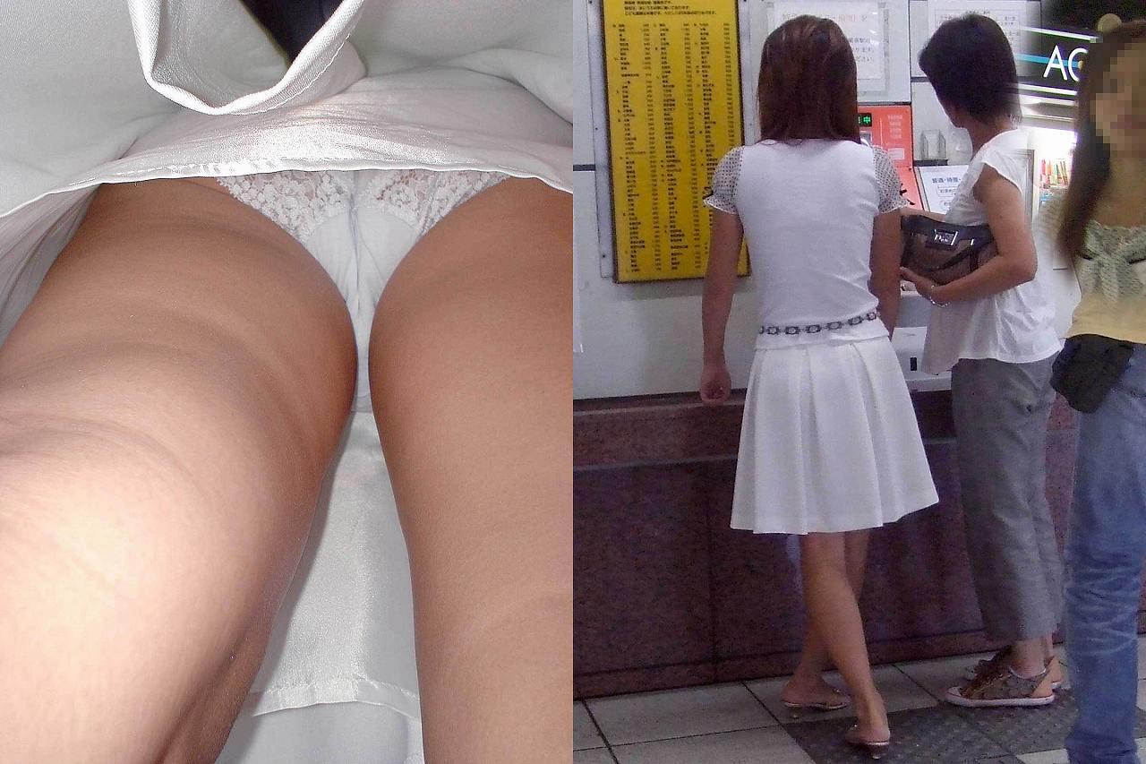駅構内で清楚な白パンツを激写した!