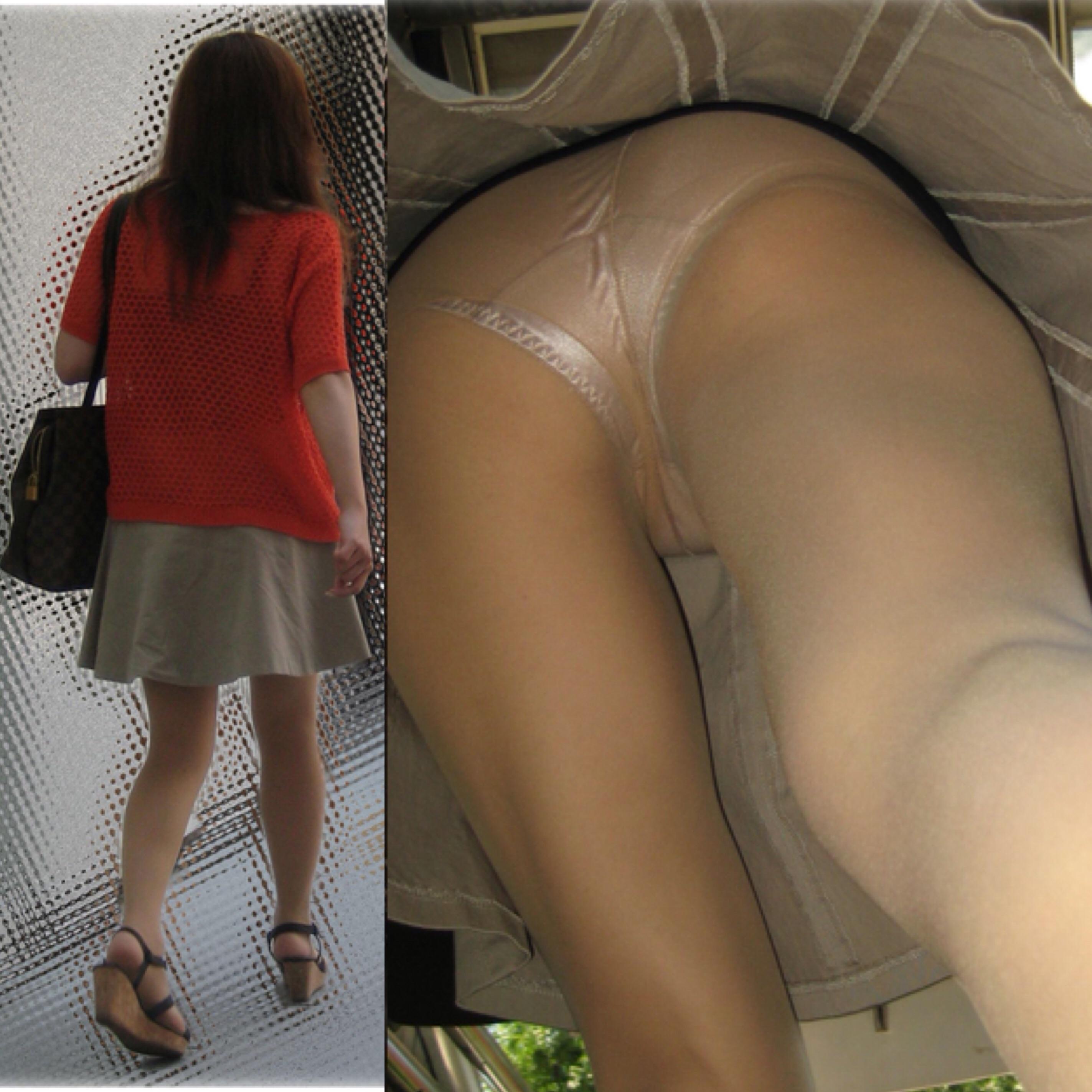 街中で女性のスカート内のパンティー盗撮!