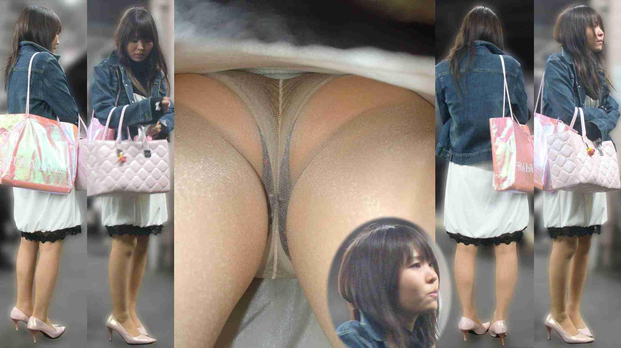 ジージャン着た女性のパンチラを盗撮!