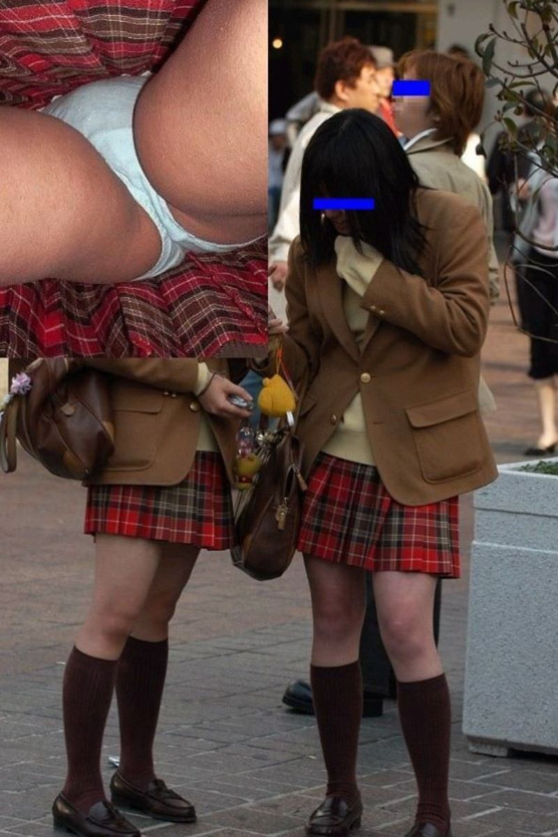 清純な女子校生の綿パンツを逆さ撮り!