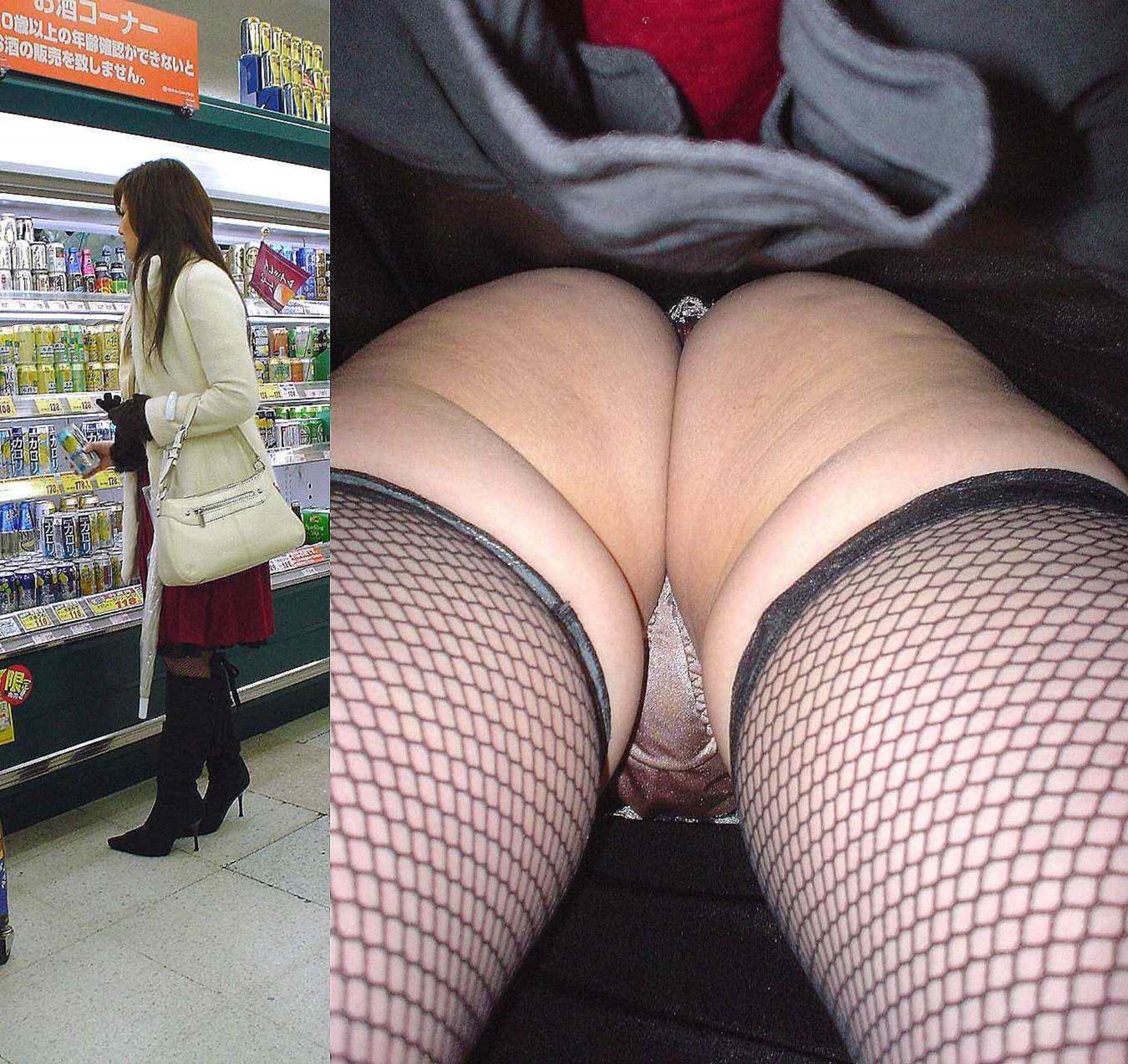 スーパーでお酒を購入する女性を逆さ撮り!