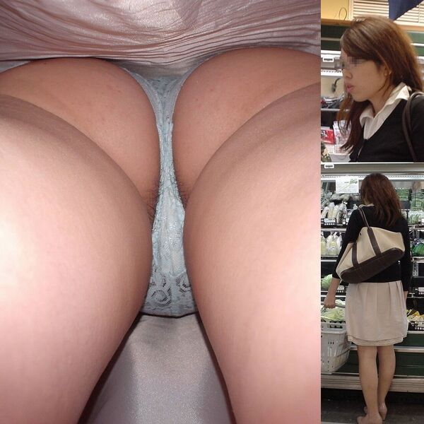 スーパーで買い物中のお姉さんを逆さ撮り!