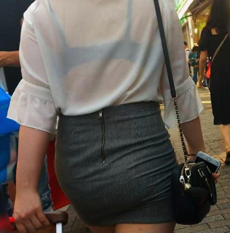 ガッツリ透ける下着女性を街撮りした!