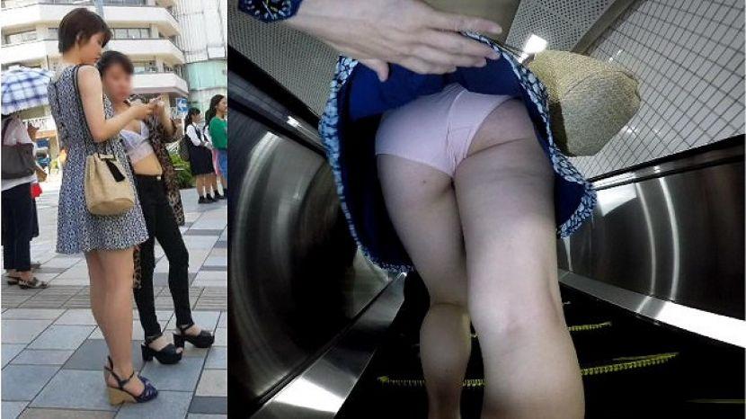 ショートカット女性のスカート捲り!