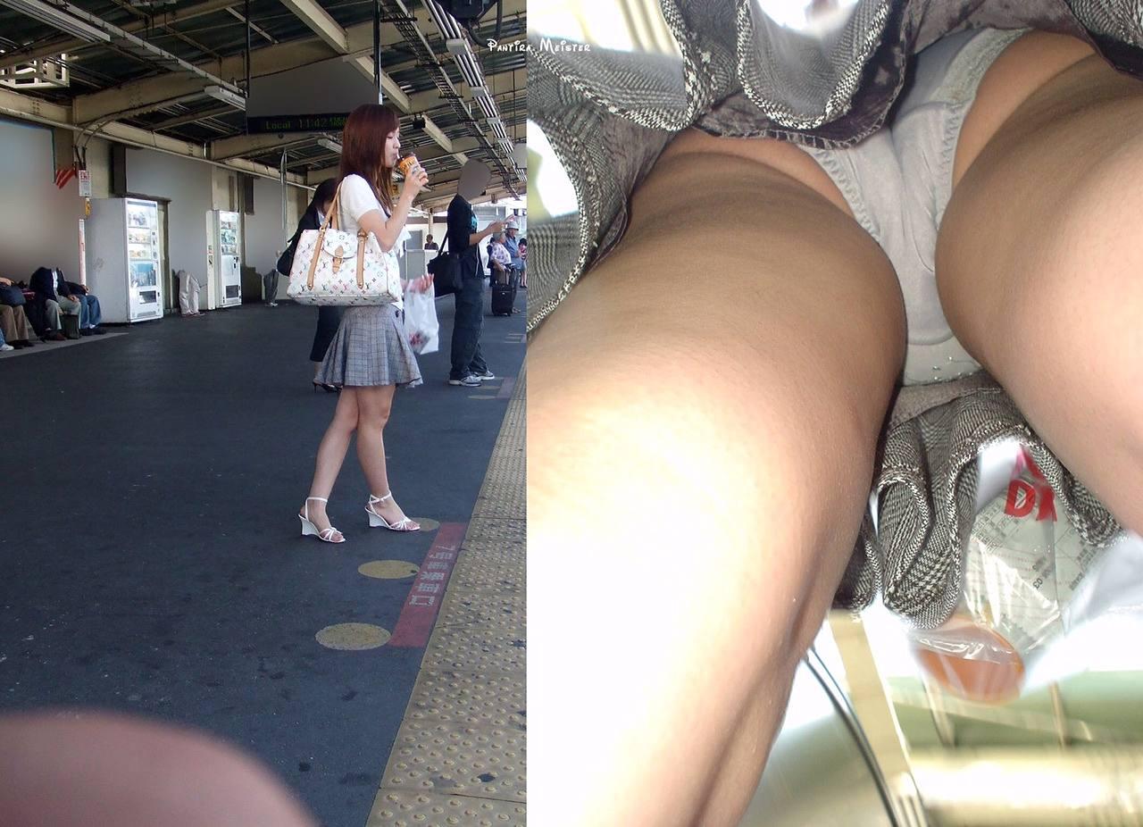 電車待ちの可愛い素人の逆さ撮り!