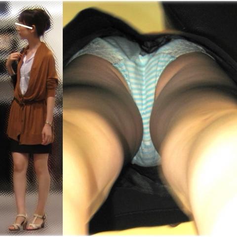 お姉さんの縞々パンツが可愛い過ぎる!